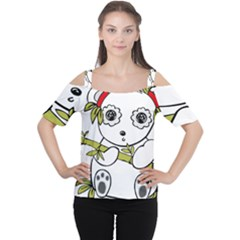 Panda China Chinese Furry Cutout Shoulder Tee