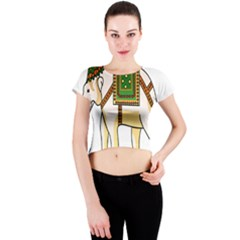 Elephant Indian Animal Design Crew Neck Crop Top