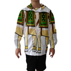 Elephant Indian Animal Design Hooded Wind Breaker (kids)