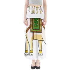 Elephant Indian Animal Design Full Length Maxi Skirt