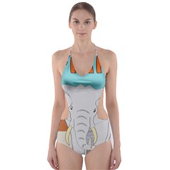 Africa Elephant Animals Animal Cut Out One Piece Swimsuit