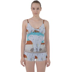 Africa Elephant Animals Animal Tie Front Two Piece Tankini