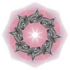Lizard Hexagon Rosa Mandala Emblem Golf Umbrellas