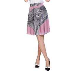 Lizard Hexagon Rosa Mandala Emblem A Line Skirt