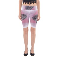 Lizard Hexagon Rosa Mandala Emblem Yoga Cropped Leggings