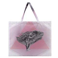 Lizard Hexagon Rosa Mandala Emblem Zipper Large Tote Bag