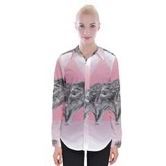 Lizard Hexagon Rosa Mandala Emblem Womens Long Sleeve Shirt