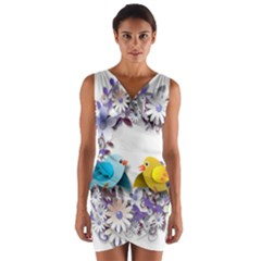 Flowers Floral Flowery Spring Wrap Front Bodycon Dress