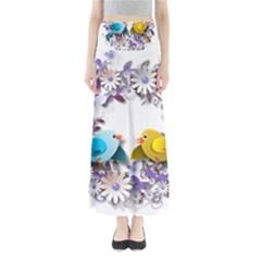 Flowers Floral Flowery Spring Full Length Maxi Skirt