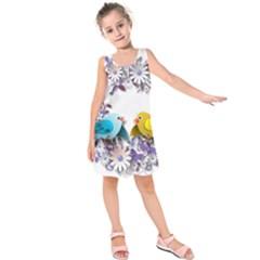 Flowers Floral Flowery Spring Kids  Sleeveless Dress