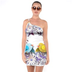 Flowers Floral Flowery Spring One Soulder Bodycon Dress