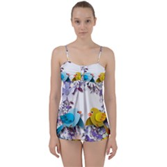 Flowers Floral Flowery Spring Babydoll Tankini Set