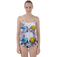 Flowers Floral Flowery Spring Twist Front Tankini Set