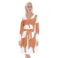 Irish Setter Silo Color Long Sleeve Velvet Front Wrap Dress