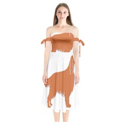 Irish Setter Silo Color Shoulder Tie Bardot Midi Dress