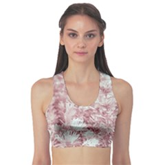 Pink Colored Flowers Sports Bra