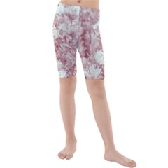 Pink Colored Flowers Kids  Mid Length Swim Shorts