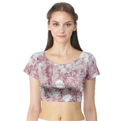 Pink Colored Flowers Short Sleeve Crop Top (tight Fit)