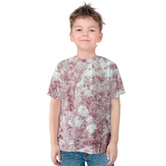 Pink Colored Flowers Kids  Cotton Tee