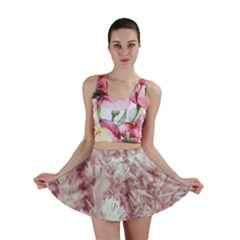 Pink Colored Flowers Mini Skirt