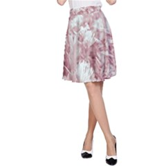Pink Colored Flowers A Line Skirt