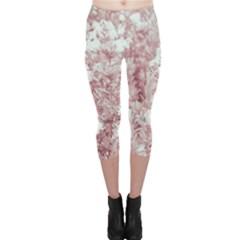 Pink Colored Flowers Capri Leggings