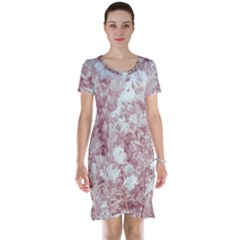 Pink Colored Flowers Short Sleeve Nightdress
