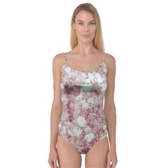 Pink Colored Flowers Camisole Leotard
