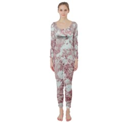 Pink Colored Flowers Long Sleeve Catsuit