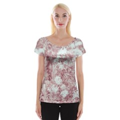 Pink Colored Flowers Cap Sleeve Tops