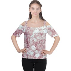 Pink Colored Flowers Cutout Shoulder Tee