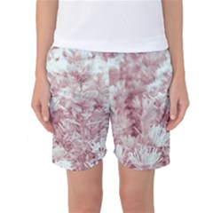 Pink Colored Flowers Women s Basketball Shorts