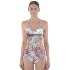 Pink Colored Flowers Cut Out One Piece Swimsuit