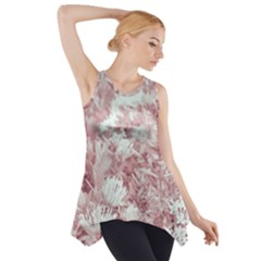 Pink Colored Flowers Side Drop Tank Tunic