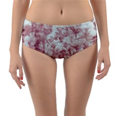 Pink Colored Flowers Reversible Mid Waist Bikini Bottoms