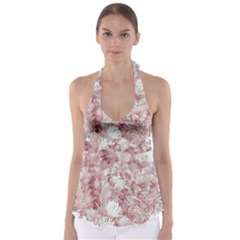 Pink Colored Flowers Babydoll Tankini Top