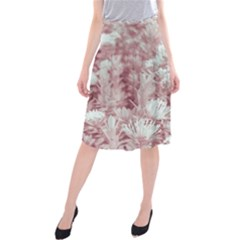 Pink Colored Flowers Midi Beach Skirt