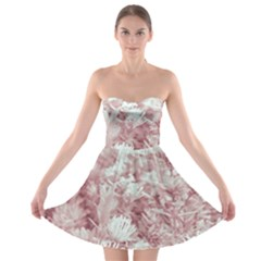 Pink Colored Flowers Strapless Bra Top Dress