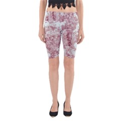 Pink Colored Flowers Yoga Cropped Leggings