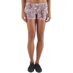 Pink Colored Flowers Yoga Shorts