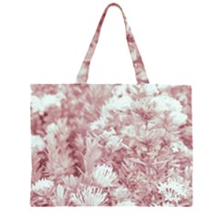 Pink Colored Flowers Zipper Large Tote Bag