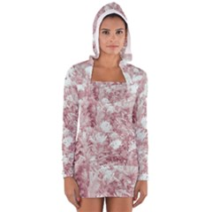 Pink Colored Flowers Long Sleeve Hooded T Shirt