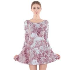 Pink Colored Flowers Long Sleeve Velvet Skater Dress