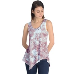 Pink Colored Flowers Sleeveless Tunic