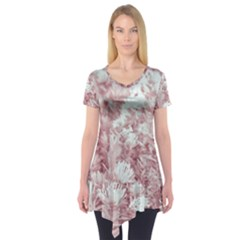 Pink Colored Flowers Short Sleeve Tunic
