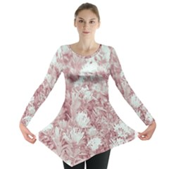 Pink Colored Flowers Long Sleeve Tunic