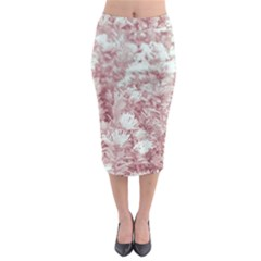 Pink Colored Flowers Midi Pencil Skirt
