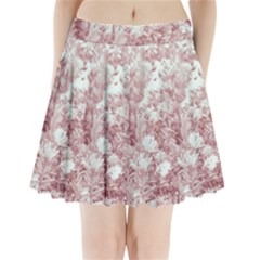 Pink Colored Flowers Pleated Mini Skirt