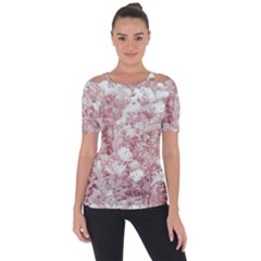 Pink Colored Flowers Short Sleeve Top