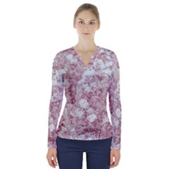 Pink Colored Flowers V Neck Long Sleeve Top